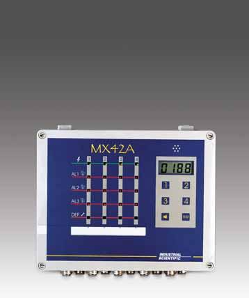 3 26 MX 42A Controller 1-4 Analog input channels On-board relays 4-20 ma pass-through 3 gas alarm thresholds, 1 fault alarm LCD displays concentrations Continuous self-checking SPECIFICATIONS