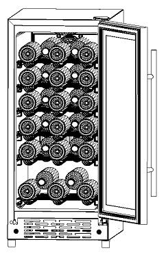 APPLIANCE FEATURES One Temperature Zone (There is only one zone in this appliance) Can be used to store wine bottles or beverages. Can hold up to 32 standard size wine bottles.