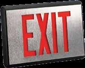 US Prestige DX Series Die-Cast Exit Sign ARCHITECTURAL Red and green LED light source Constructed of Die-Cast aluminum. Finished with a deep brushed face and black body. Optional finishes available.