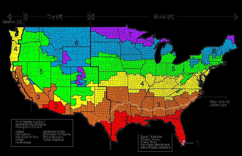 ASHRAE CLIMATE ZONES Requirements by