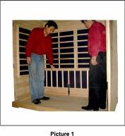5. Place the Bench Support panel first and then place the Bench surface panel into the sauna room.