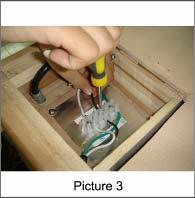 three unconnected power wires (Picture 1) Insert the green wire into and