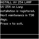 Reset timer for other lamps After resetting the UV