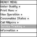 Description of Ready Menu, Continued Service Tracking Diagram 1 Diagram 2 Item Installation Repair