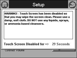 Table 42. Configurable Parameters. Fig. 109. Clean screen setup. A countdown screen displays (Fig. 110) during the screen disable period. It disappears when the touch screen is re-enabled.