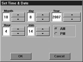 The 833-3577 system clock is set by selecting the System Time button on the Advanced Setup page. A screen similar to the following figure (Fig. 115) displays.