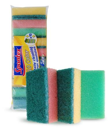 RAINBOW SCOURERS Efficient scouring sponges in a small handy format Great value pack of 10 Product Code: