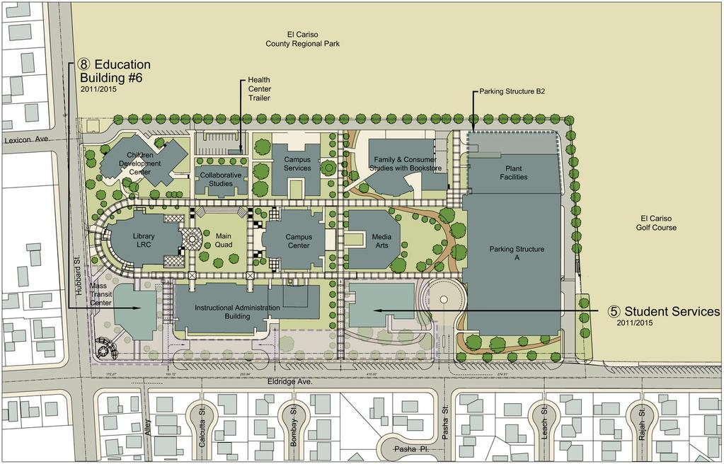 LOS ANGELES MISSION COLLEGE MASTER PLAN PHASING PLAN: PHASE II - BEYOND PROPOSITIONS A & AA PROJECTS Existing Campus Once Phase 1 is complete, Phase 2 of the may begin and construction of projects