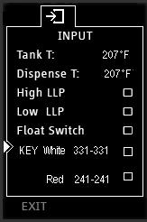 Displayed are the default settings programmed into the equipment Touch upper Touch Function Selector to scroll through the programming lines.