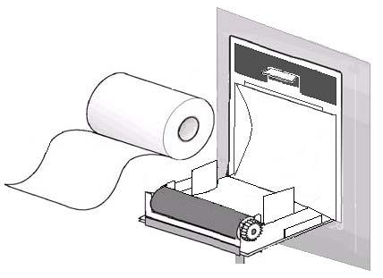 3. Fix the new paper correctly, tip of paper out from the head of printer. 4. 3mm paper must out of recorder door, close the door. 5. Press PRINT to check if the paper fixed well or not.