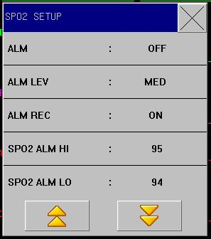 Figure11-5 SPO 2 Setup Setting the SpO 2 alarm upper limit to be 100% means to release the upper limit.