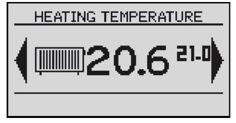Shows the current temperature in the room No 1 (large font) and the value of the desired (small font).