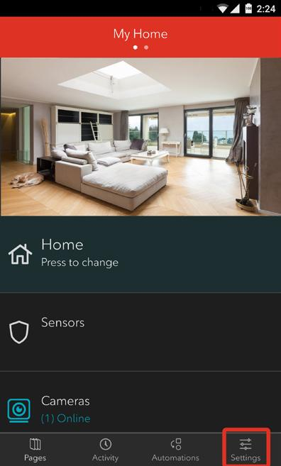 1. Login to your Rogers Smart Home Monitoring app.