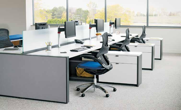 3 With furniture elements that reflect contemporary work styles, Dividends Horizon offers pragmatic planning and aesthetic opportunities for individual and linked workstations.