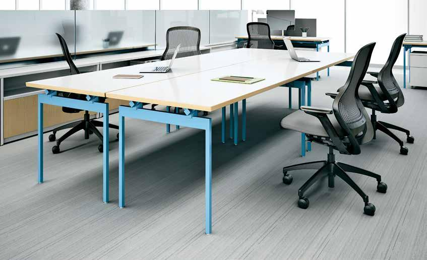 3 Knoll table desks set the stage for a perfectly balanced open plan workplace, offering the ultimate in careful planning and spontaneous flexibility with technology management to match.