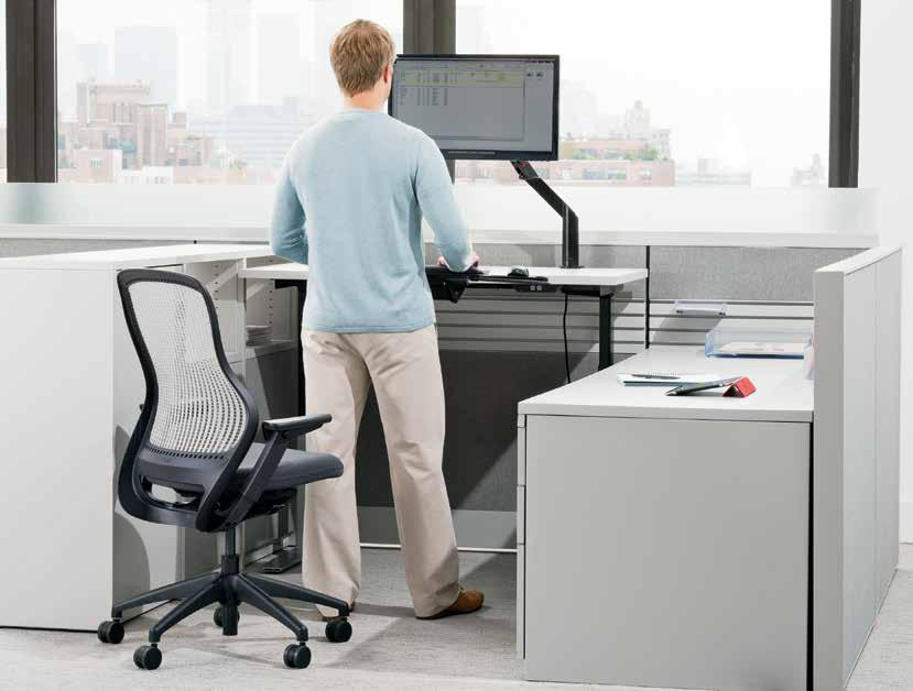 open plan / adjustable tables 1 Knoll height-adjustable tables offer personalized solutions for open plan and private offices, ensuring user comfort, adjustability and proper alignment.