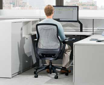 DT1BC4623 > Template, pg 11; ReGeneration by Knoll chair, pg 20; Sapper XYZ Monitor Arm, pg 25; Act II keyboard, pg 29; Orchestra desktop accessories, pg 30 2 Interaction Electric Height-Adjustable