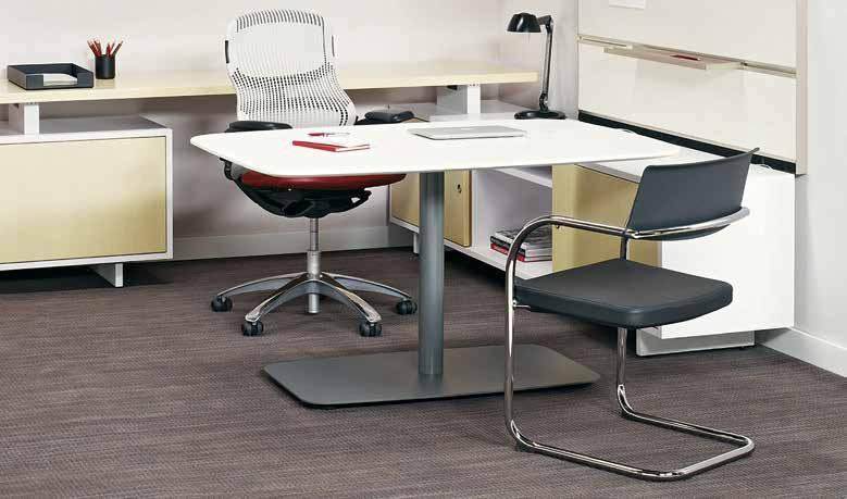 Moment side chair > Generation by Knoll chair, pg 20; Copeland Light, pg 30; Smokador desktop accessories, pg 30 Knoll side chairs welcome guests and complement a wide range of aesthetics.