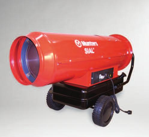 Mobile Air Heater GD E Q U I P M E N T GD 100% thermal efficiency Ideal for spot heating Easy to install Easy to operate Functions on diesel, kerosene or paraffin Photoelectric flame detection safety
