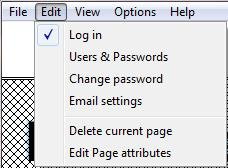Program Edit Menu Log On and Off Set up Username and passwords (See Section 5) Allows Current