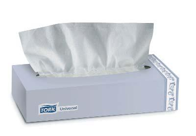 TORK PREMIUM FACIAL TISSUE Ultra soft, premium two-ply tissue tells users you care about their comfort. A different color indicator sheet shows when the tissue box is nearly empty.
