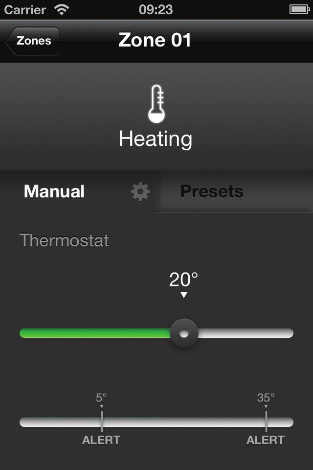 VIEWING ZONE SETTINGS - THERMOSTAT MODE The following screen will be shown when you tap on a zone that is in Thermostat mode. In this mode the heating is regulated by the temperature.