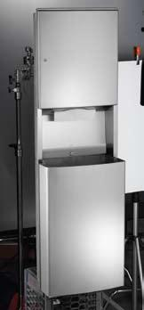 Wall Opening: 15 5 8 x 54 3 8 x 4 (397 x 1381 x 102 mm) 20469 RECESSED PAPER TOWEL DISPENSER AND WASTE RECEPTACLE Dispenses 600 C-fold or 800 multi-fold paper towels. 14.8 gal.