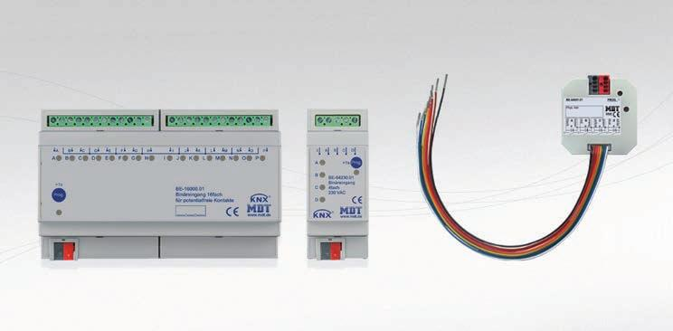INPUTS MDT INTERRA Complete range of potential free inputs for DIN rail or in wall mounting, as well as 230VAC, 2 24VDC, 24VAC or analogue 0 2V/2