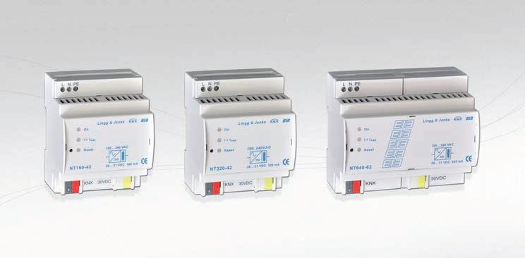 KNX POWER SUPPLIES LINGG&JANKE 60, 320 and 640mA KNX power supplies, all of them with auxiliary