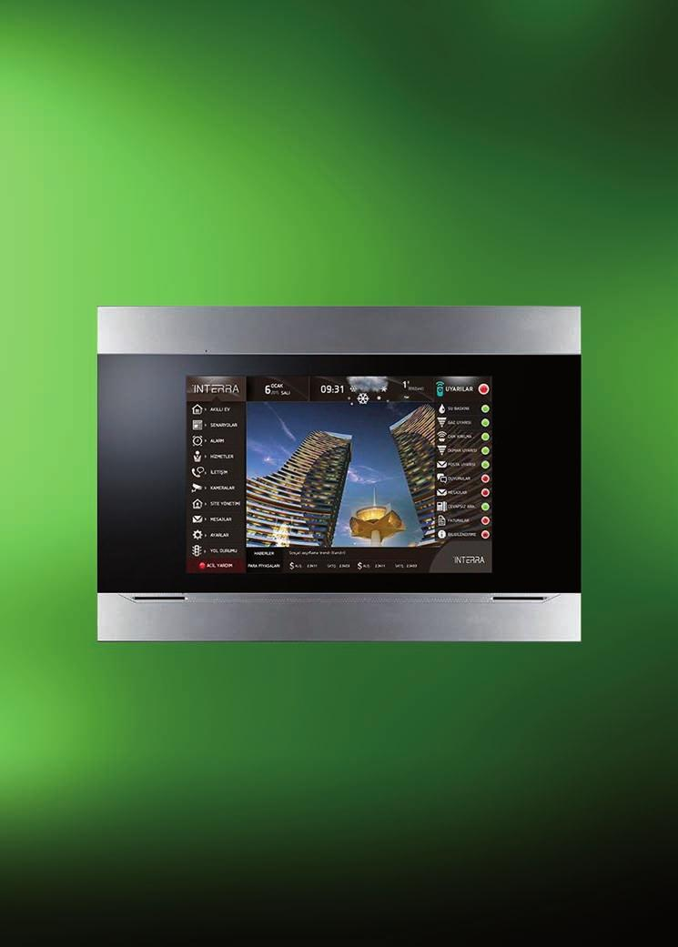 "VISUALIZATION TR-0-004 "" Touch Display with integrated web server Interra Touch display with exceptional design and wide functionality for home control."