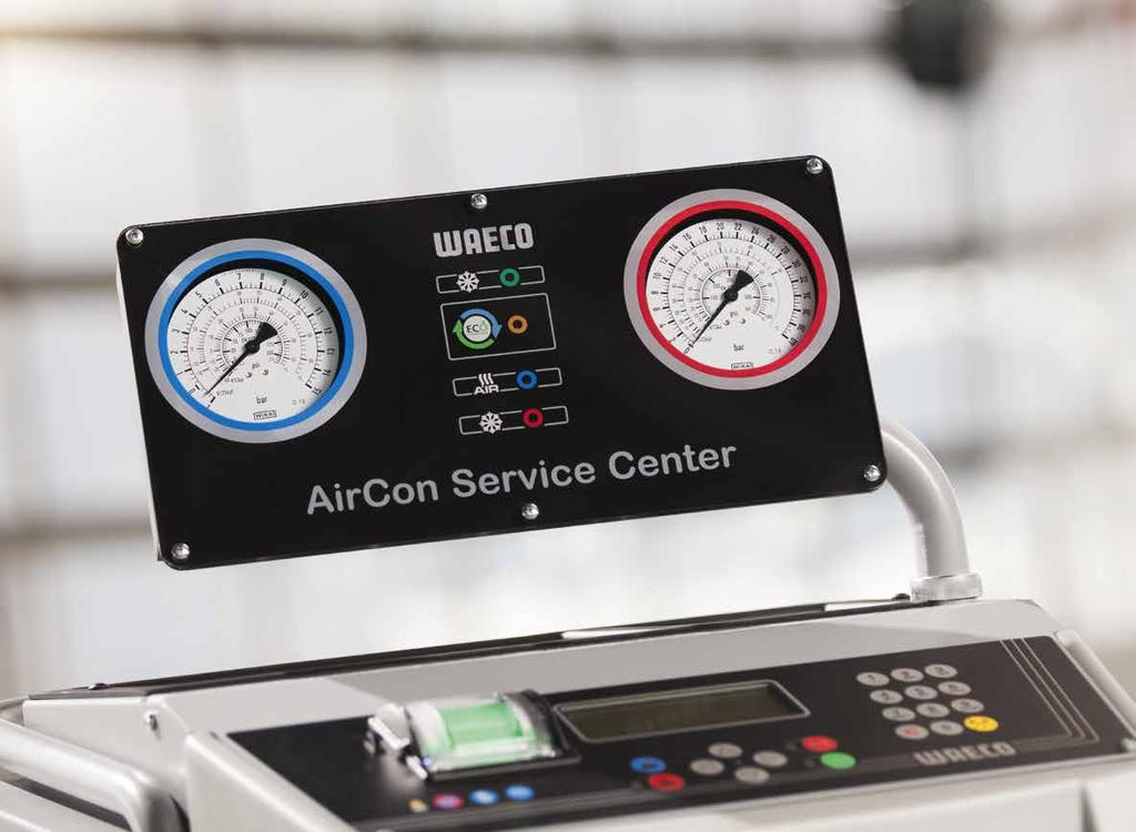 CLOSE TO 100 % DISCHARGE IN FOUR STEPS AirCon Service Center Low Emission Most A/C service units available in the market today are using three major process steps: refrigerant recovery via the