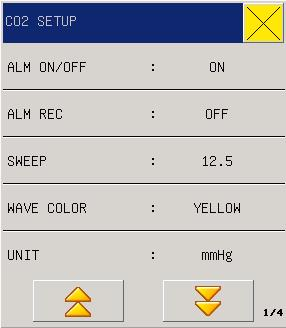 "Figure 15-6 CO2 Settings ALM ON/OFF(Alarm Switch): select On"" to enable CO2 alarms, or select Off"" to disable CO2 alarms with the icon appearing beside CO2 in the parameter area on the screen."