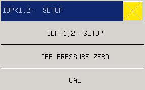 Fig 16-4 IBP Parameter Setting Menu Settings can be done on the following items: IBP<1,2>SETUP: ALM ON/OFF: see this chapter parameter area IBP <1,2> setup the ALM ON/OFF.