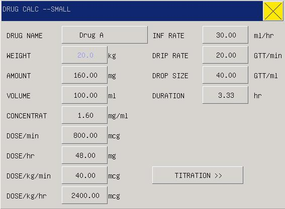 Chapter7 Drug Calculation & Titration List The portable-type multi-parameter monitor can provide the computation for 15 kinds of medicines as well as the Titration List Display Function, and output