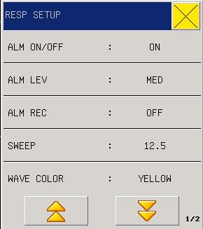 Figure 11-3 RESP Alarm Setup 1. ALM ON/OFF: see reference in RESP Setting menu 2. ALM LEV: see reference in RESP Setting menu 3. ALM REC see reference in RESP Setting menu 4.