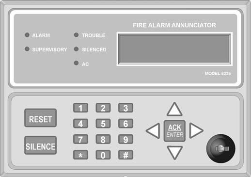 151204 Section 5 Operation To operate the SK-5208 you can use either the on-board touchpad or the Model SK-5235 Remote Annunciator. Important! 5.1 Installer & User Keys Figure 5-1 Model SK-5235 Remote Annunciator Upon initial power up there is a 45 second delay before the initiation circuits become active.