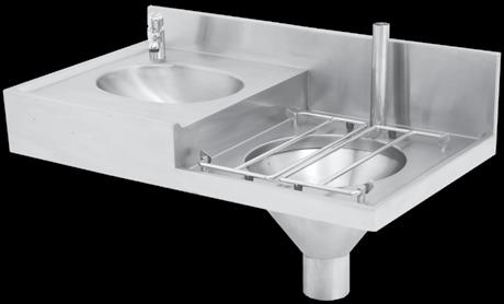 Hospital Products HOSPITAL PRODUCTS CHBC Slop Hopper Basin Combination TAP & WASTE FITTING NOT INCLUDED Franke model CHBC Slop Hopper Wash hand basin combo unit 962x550mm manufacture from grade 304