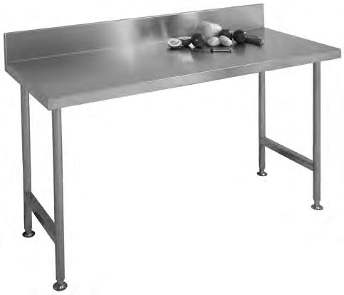 Industrial Products Wall Benches Franke model W Wall Bench manufactured from grade 304 stainless steel 1,2mm thick with a 150mm integral splash back at the back and 50x10mm turndown on the remaining