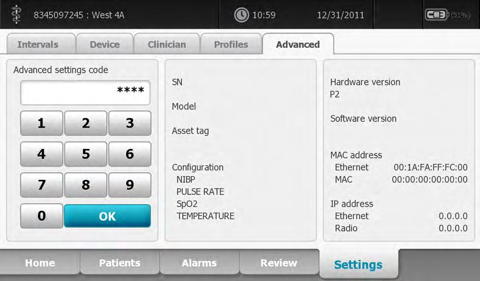 109 Advanced settings The Advanced tab provides password-protected access to the monitor's Advanced settings (or Admin mode), enabling nurse administrators, biomedical engineers, and/or service