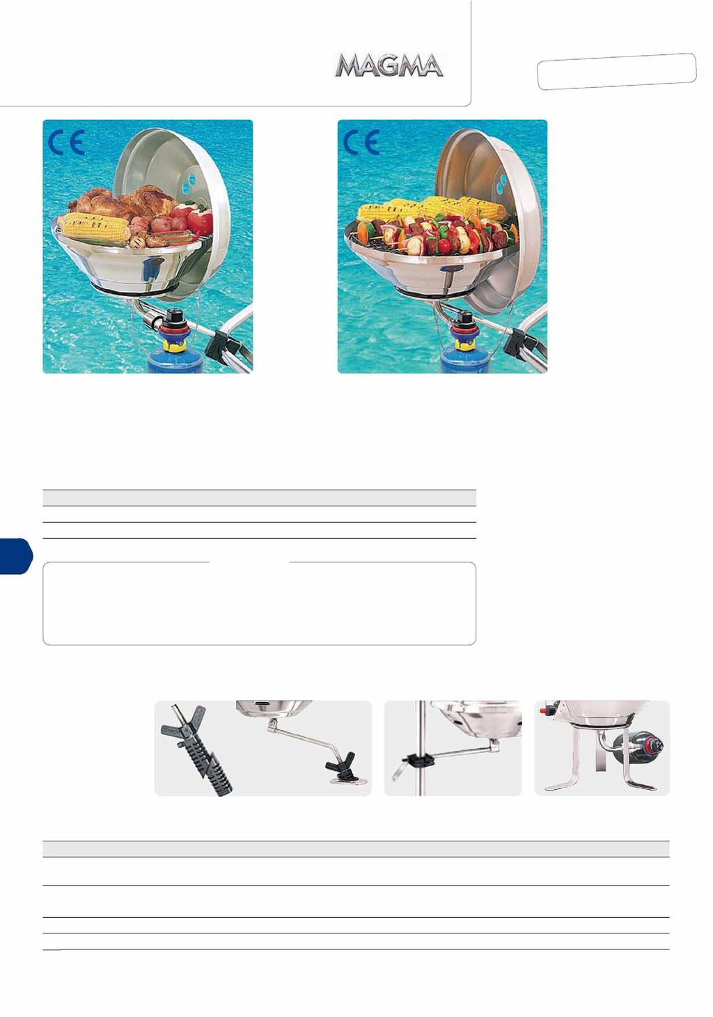 arbecue Gas barbecue set Patented Marine Kettle by Magma offers you the safety, durability and performance you need for an onboard barbecue. escription Ref.