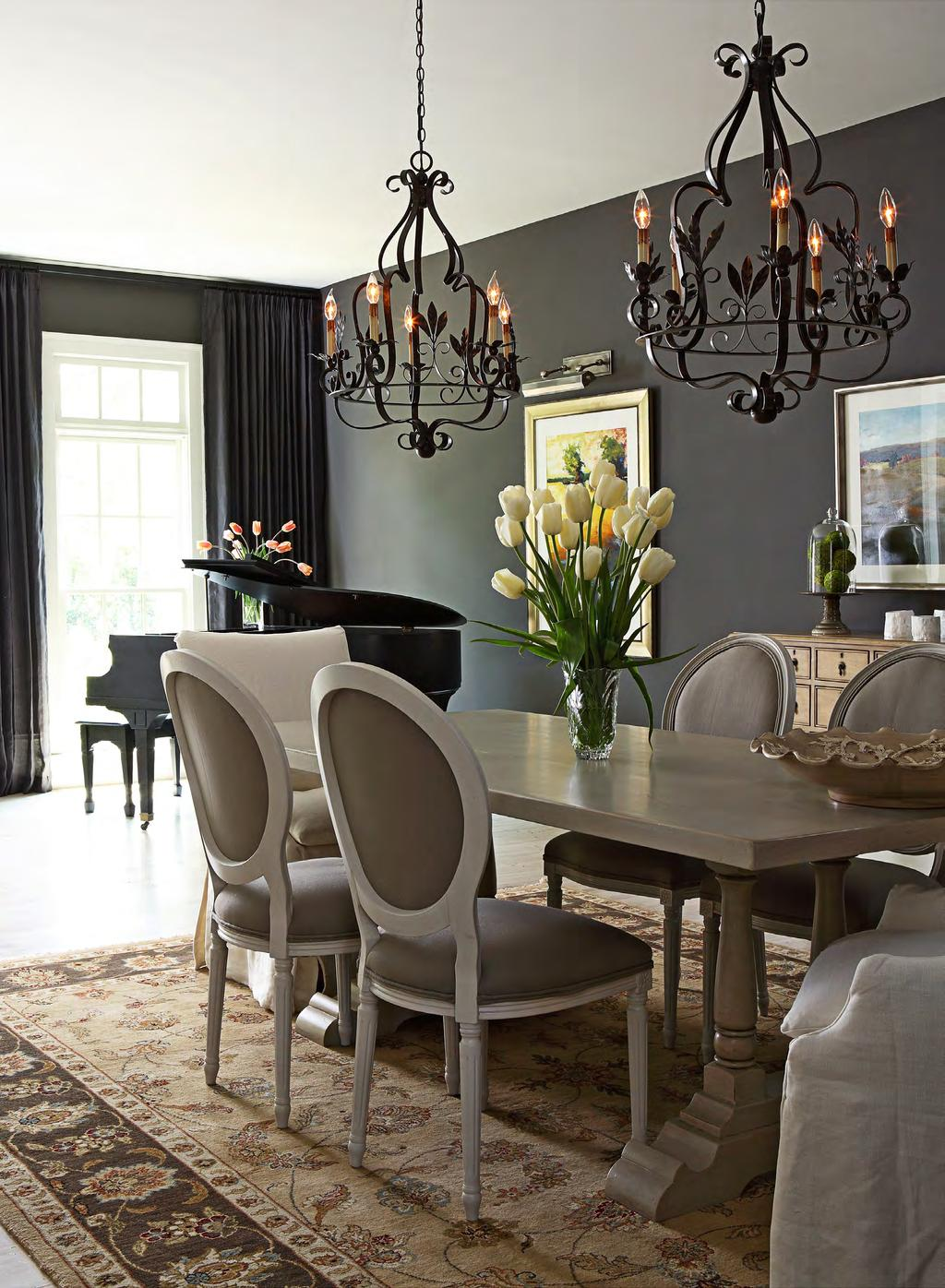 Hirsch chose charcoal-hue paint as a sophisticated backdrop to the dining and music area. It s important to choose a gray that s not too bluish or purple, she says. This one is a true charcoal.