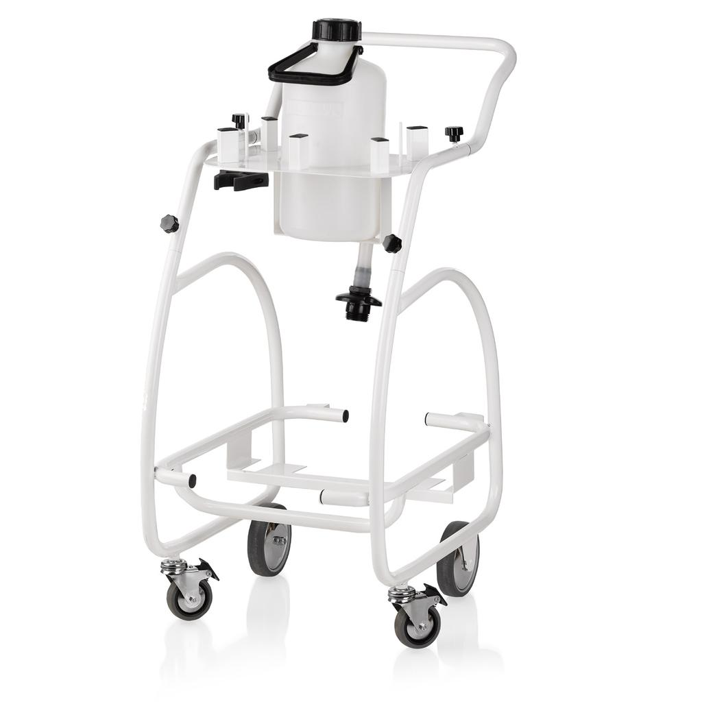ENVIROMATE PRO TROLLEY COMMERCIAL TROLLEY SYSTEM WITH WATER FEED HAVE CART, WILL TRAVEL The EP1000 trolley provides a convenient movable storage system for the EP1000 professional steam cleaner and