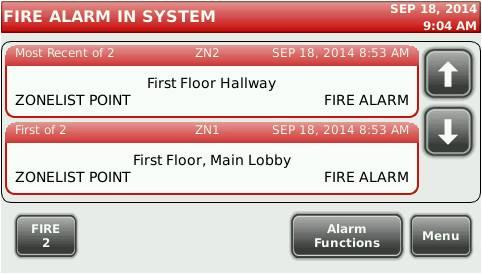 System Alarm Screen identifies active alarms with custom labels