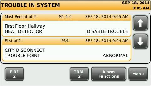 2015 12:24 PM System Info Panel Setup Alarm Log Trouble Log BUTTON A
