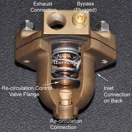 being trapped in the forward end of the manifold and thus potentially cause corrosion inside the manifold. 2. Remove the upper half of the Thermostat Housing and the Thermostat itself. 3.