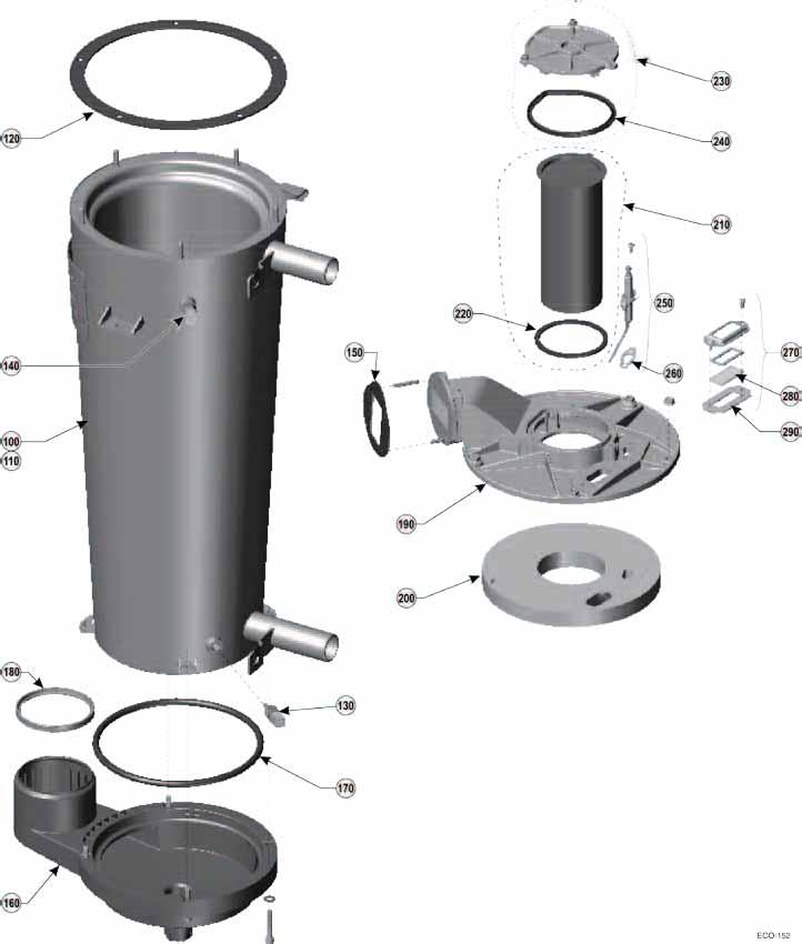 Heat exchanger assembly ECO 155 (see Figure 114, page