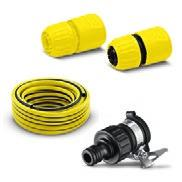 "With 10 m PrimoFlex hose (3/4""), G3/4 tap adaptor, 1 x universal hose connector and universal connector with Aqua Stop."