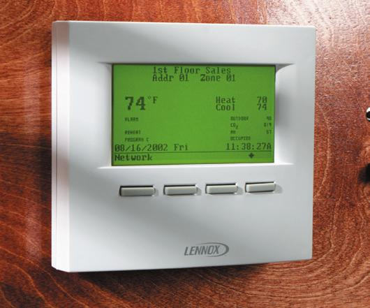 demands to the Prodigy Control System Compatible with Lennox Strategos and Energence rooftop units Auto changeover between heating and cooling Built-in humidity sensor and built-in CO2 sensor in