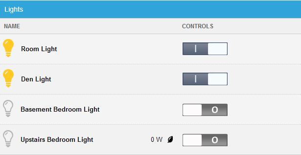 WEB PORTAL LIGHTS The current state of your light settings is displayed on the Main screen. To manage your lights: 1.
