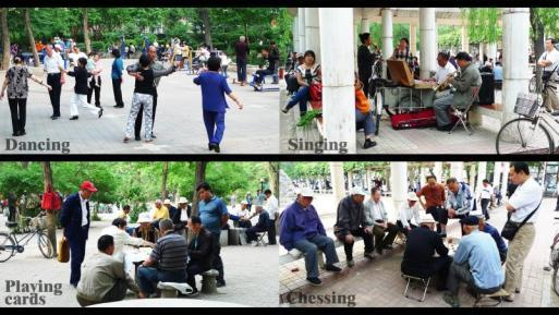 Figure 5. 3 Various activities in Xinhua Park, which is 3 minutes walk from Zhongxinli Community. People are enjoying their spare time and onlookers can be seen everywhere.